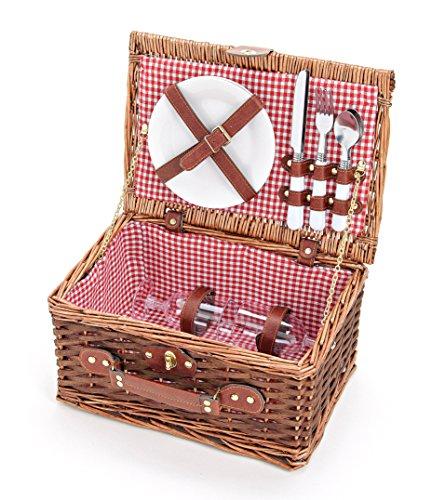 Picknickkorb Für 2 Personen aus Weide Rot Kariert - Picknick Korb mit Geschirr Set & Futter - 2 Teller, 2 Messer, 2 Gabeln, 2 Löffel & 2 Weingläser