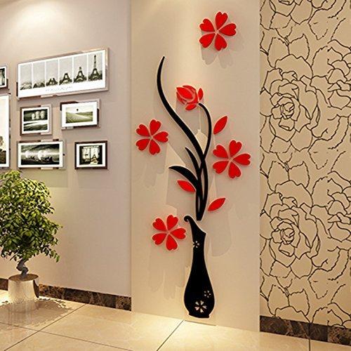 Wall Murals-Vaso da fiori in 3d, per soggiorno, camera da letto ...
