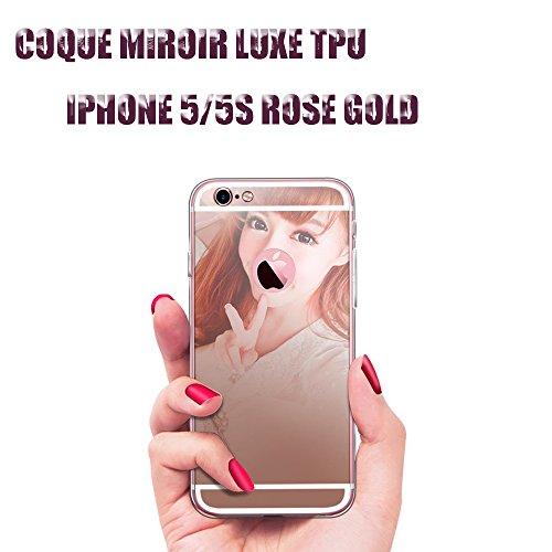 Coque iphone miroir 5-5S champagne rose luxe cristal etui tpu gel silicone semi rigide ESS TECH®
