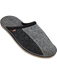 BeComfy Pantofole in Feltro, Pantofole di casa, Suola in Feltro/Suola in Gomma, Pantofole Leggere e comode