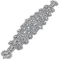 Hecho a mano de cuentas de boda vestido de diamantes de imitación de Hotfix Appliques para los cinturones de novia (plata)