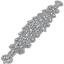 Hecho a mano de cuentas de boda vestido de diamantes de imitación de Hotfix Appliques para