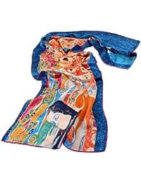 """Nella-Mode SEIDENSCHAL Seidentuch Kunstdruck nach Gustav Klimt """"Die Hoffnung"""" (blau), Jugendstil, Schal 100% Seide, 160x43 cm"""