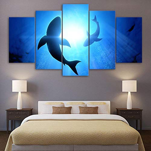 MILUI Wall Art Prints Modular Pictures Quotes 5 Set Marine Animal Shark Poster Canvas Spray Painting HD Hallway Home Decor 20X35_20X45_20X55cm_No_Frame