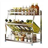 Nan Liang Großer Chrom-Küchen-Regal-Organisator für Gläser oder Pakete - Zahnstangen können an der Wand befestigte oder Schranktür-Befestigung Sein (die Befestigungen eingeschlossen) Nicht rosten