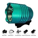 LED Fahrradbeleuchtung, LED Akkuanzeige, 1200 lm, 3 Lichtmodi, Sport Fahrradlampe, USB Aufladbar Akku, USB Fahrradlicht mit Rücklicht, Fahrradhalterung (Blau)