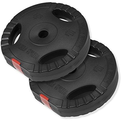 GORILLA SPORTS® Hantelscheiben-Set 30 kg Kunststoff Gripper - 2 x 15 kg Gewichte mit 30/31 mm Bohrung
