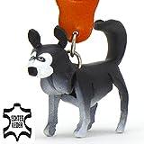 Monkimau 8020 Siberian Husky Hund-e Schlüsselanhänger Deko-Figur 3D Charm-s 5cm handgefertigte Haus-Tier Leder Anhänger Tier-Liebhaber Geschenk Spielzeug Ornamente Deko-Ration