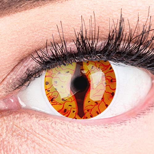 Farbige Feurige Drachen Dragon Kontaktlinsen Ohne Stärke mit Gratis Kontaktlinsenbehälter - Stark Deckend und Intensive Farben - Drogon Cosplay Lenses für Halloween Fasching