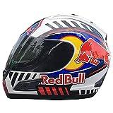 CCtoukui Erwachsener Red Bull Motorradhelm, Doppelte Linse UV-Schutz Offroad-Motorradlokomotive...