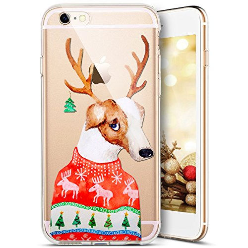Custodia iPhone 4S,iPhone 4S Cover,SainCat Custodia in Morbida TPU Protettiva Cover per iPhone 4S,Creative Design Transparent Silicone Case Ultra Slim Sottile Morbida Transparent TPU Gel Cover Shock-A Antlers Dog