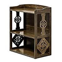 Belingeya-hm Bookshelf Brown Multi-layer Landing Carved Flower Solid Wood Bookshelf Storage Rack for CDs, Movies & Books Holder (Color : Brown, Size : 52 * 28 * 64cm)