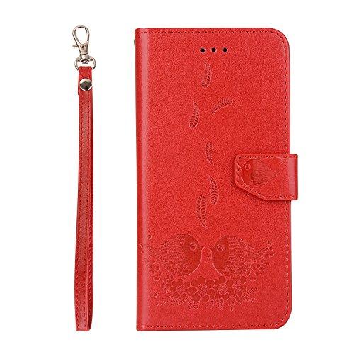 iPhone 7 Plus Coque, Voguecase Etui pratique et original en cuir synthétique, avec fermeture à aimant, housse de protection interne silicon antichoc de qualité avec coque en internal silicone amovible Couple d'oiseaux-Rouge