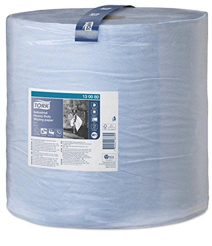 arke Industrie Papierwischtücher für W1 Bodenständer- und Wandhalter-System / 3-lagige Putzpapier Rolle in Blau / Premium Qualität / 1 x 255 m ()