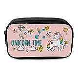 """Fringoo® großes Federmäppchen, Motiv: Einhorn mit Aufschrift """"Unicorn Time"""", für Mädchen und Jungen, lustiges Schulezubehör, Beutel, Werkzeugmäppchen Large UNICORN TIME - Front"""