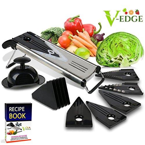 Mandoline von V-Edge, mit E-Book, Klinge aus chirurgischem Edelstahl, für Obst, Gemüse, Käse, Lebensmittel, Reibe, Julienne-Schneider, inkl. 6verschiedenen Einsätzen