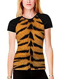 Tiger Skin Print Women's All Over Graphic Contrast Baseball T Shirt