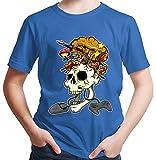 HARIZ  Jungen T-Shirt Skelett Kopf Explosion Gamer Gaming Pixel Zocken PC Level Plus Geschenkkarte Royal Blau 98/2-3 Jahre