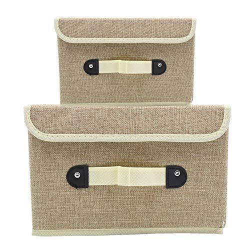 MMYOMI Aufbewahrungsboxen Set von 2 Leinen Stoff Faltbare Bins Korb mit Deckel Griff Cubes Organizer Boxen Container Schubladen für Büro Kinderzimmer Schlafzimmer Regal (Khaki)