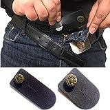 Taille Extender Lot de 2 pour homme ou femme (Noir) avec BOUTON DE Bronze pour Jeans, pantalons, jupes ou Short