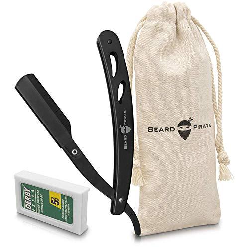 Beard-Pirate Rasiermesser mit Wechselklingen - Transportbeutel & Pdf Anleitung Für Eine Exzellente Rasur - Bartmesser Set Für Einsteiger & Fortgeschrittene