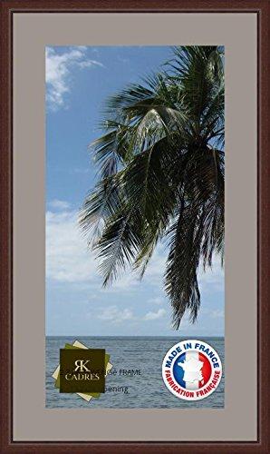 Bilderrahmen mit Passepartout Grau TV Wand Bilderrahmen für EIN Bild 33x65 / 33 x 65 cm Rahmen Wenge klassisch, 2.3 cm Breiten Holzleisten, Holzrahmen