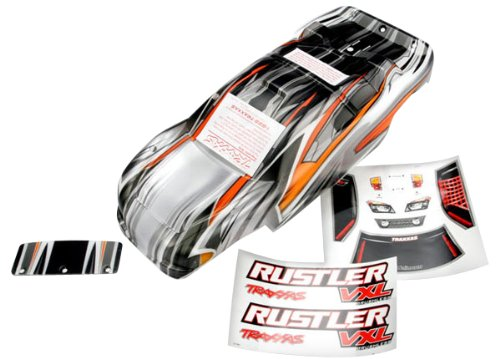 Traxxas 9.436,1cm Rustler VXL Prographix mit Aufkleber/Wing und Alu Hardware Body Modell
