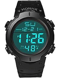 Fami-Montre Fashion Waterproof Men's Boy LCD Chronomètre numérique Date Montre bracelet en caoutchouc Sport (Noir)