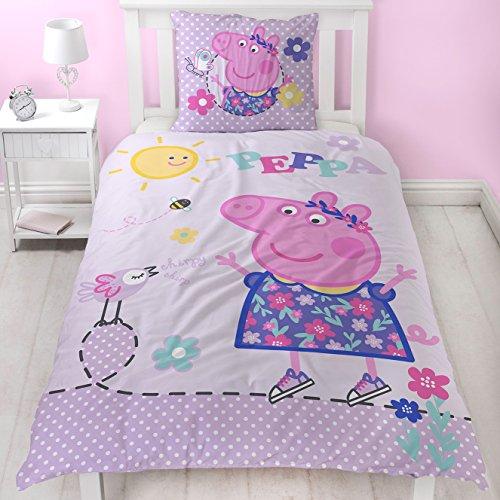 Pig Pflege (Peppa Wutz Mädchen Bettwäsche Lila, Rosa, Pink · PEPPA PIG Sunny Day · Wende Motiv in Flanell / Biber · Kissenbezug 80x80 + Bettbezug 135x200 cm · 100 % Baumwolle)