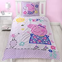 Peppa Wutz Mädchen Bettwäsche · Kinderbettwäsche · Lila, Rosa, Pink · PEPPA PIG Sunny Day · Wendebettwäsche in Flanell / Biber · Kissenbezug 80x80 + Bettbezug 135x200 cm · 100 % Baumwolle