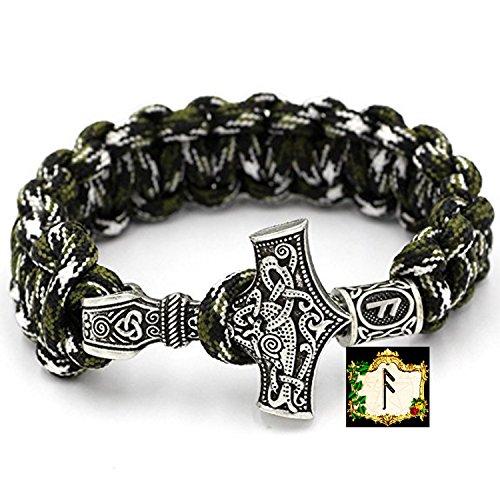 ASUZ Rune - Militär Paracord Armband Buntes Grün camouflage Outdoor - Viking Wikinger Thor Hammer Antik Silber -100% Handarbeit -25 cm Umfang Nr.7
