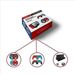 etbotu 10Spiel Zubehör Set für Nintendo Schalter, Lenkrad Controller Griff USB Kabel laden der U89Dock
