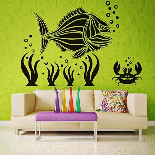 Große fische krabben korallen diy wandaufkleber unter meer design wohnzimmer aufkleber aufkleber schönheit landschaft wasserdicht kunstwand hause 83 * 58 cm
