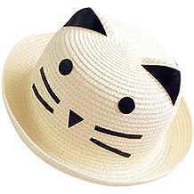 Moollyfox Garçon Fille Animaux Chat Enfants Bébé Soleil Chapeau Chapeau de Paille Mignon Plage Voayge