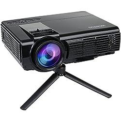 Mini Proyector, Proyectores Portátil HD LCD Proyector Video Apoyos 1080P 800*480 WiMiUS T3 Projector LED Home Cinema Altavoz Incorporado con Trípode y Cable HDMI Exento (Negro)