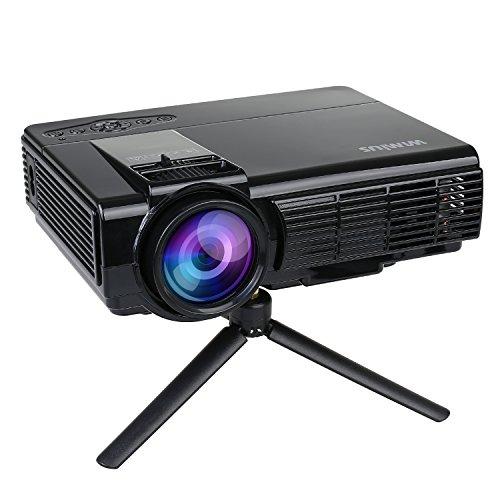 Projecteur Video, Videoprojecteur LED HD Retroprojecteur Portable Projector LCD 1200 Lumens Home Cinema Multimedia Théâtre d'Arrière-Cour, de Film et de Jeu Vidéo-Noir