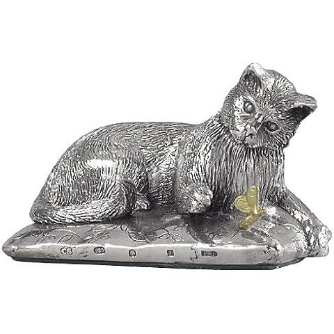 Silver Basket statuina di gatto in argento Sterling decorativa, con certificato