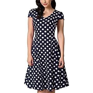 7225943f51 HOMEYEE Women s V Neck Cap Sleeves Dot Knee Length Swing Flared Casual Wear  Dress A048
