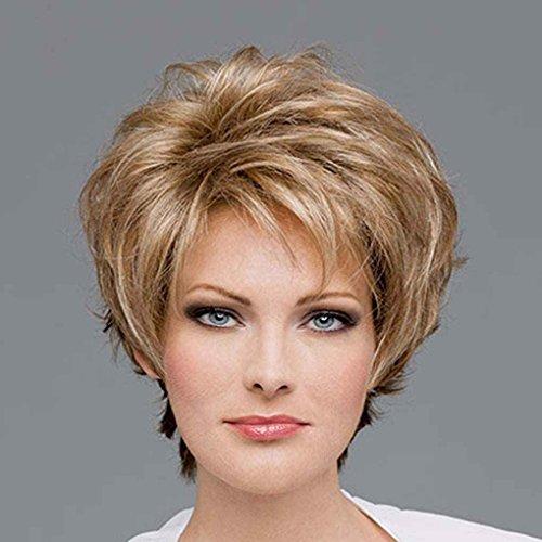 Lady Blonde Perücke (Babysbreath Frauen Schöne Braun Mit Goldenen Blonde Mixed Lady Gerade Kurze Synthetische Haar Perücken)