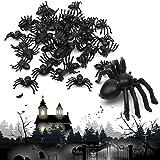 MAXGOODS 100Pcs Mini Araña Negra de Plástico Juguete de Truco Broma Decoración de Halloween Tamaño 2cm x 1.4cm Animal Divertido para Niños