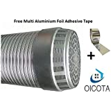 Oicota 4 Inch Chimney Exhaust Pipe With Free Cowl Cover & Aluminum Tape (FLEXIBLE ALUMINIUM DUCT PIPE)