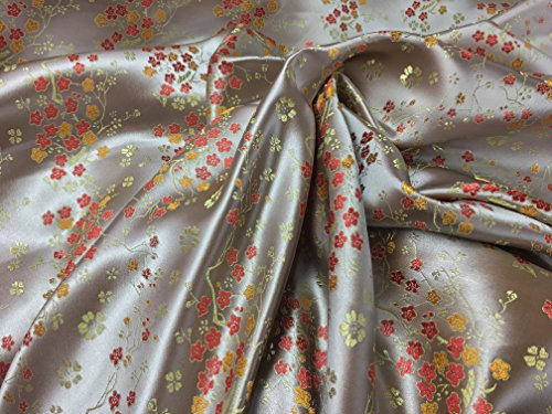 Oriental Kostüm Chinese (Oriental Chinese Silk Blossom Blumen Kleid Brokat Stoff Abend Hochzeit Kleid Jacken Stoff)