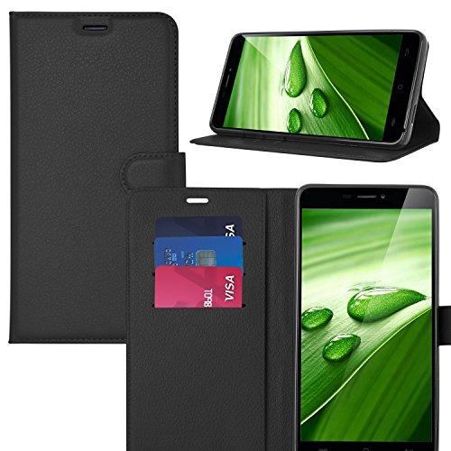 KuGi Leagoo S8 Hülle, Leagoo S8 Wallet Case, Brieftasche Case Hülle PU Kunstleder Flip Case mit Standfunktion Kartenfächer & Bargeld für Leagoo S8 Smartphone.Schwarz