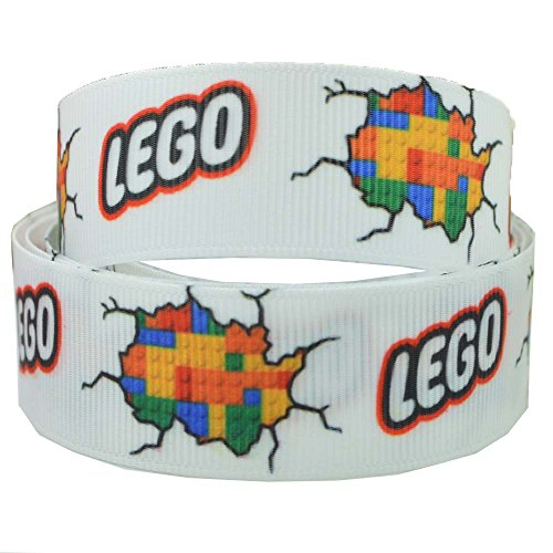 2m x 22mm weiß Lego Brick Ripsband für Geburtstagstorten, Geschenkpapier Band Haar Bögen Karten Craft Schnürsenkel (Lego Brick-kuchen)