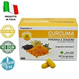 CURCUMA E PIPERINA PLUS 95% - 60 Compresse curcuma e piperina IN BLISTER con estratto di Zenzero e Boswellia [formula ONE A DAY] Integratori Alimentari 100% ITALIA | Curcuma e Zenzero