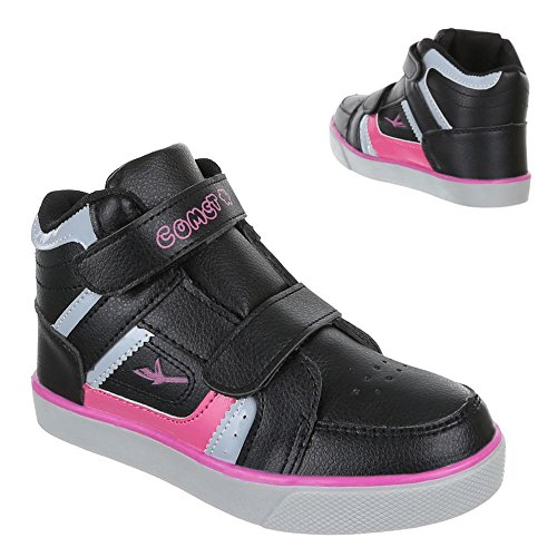 Kinder Schuhe, 1-8, FREIZEITSCHUHE SPORTLICHE SNEAKERS Schwarz Rosa