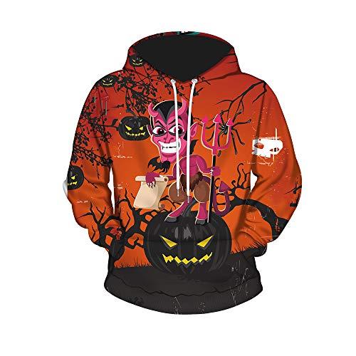 Street Kostüm Zombie - WANLN Halloween Fashion Street Kostüm voller Druck lila Hoodie,Orange,XL