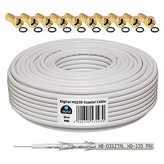 HB-DIGITAL HQ-135 PRO 50m 135dB Koaxial SAT Kabel 4-fach geschirmt Antennenkabel für DVB-S / S2 DVB-C und DVB-T / T2 BK Anlagen inkl. 10 vergoldete F-Stecker