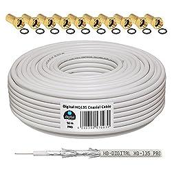 135dB 50m Koaxial SAT Kabel HQ-135 PRO 4-Fach geschirmt für DVB-S / S2 DVB-C und DVB-T BK Anlagen + 10 vergoldete F-Stecker Set Gratis dazu