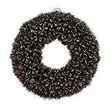 Naturkranz Deko-Kranz groß Ø 30cm in schwarz, gefertigt aus Bakuli-Früchten. Türkranz zum hängen oder als Tischdekoration im Shabby chic Design, zeitloses Wohnaccessoires als Natur-Deco von Glaskönig